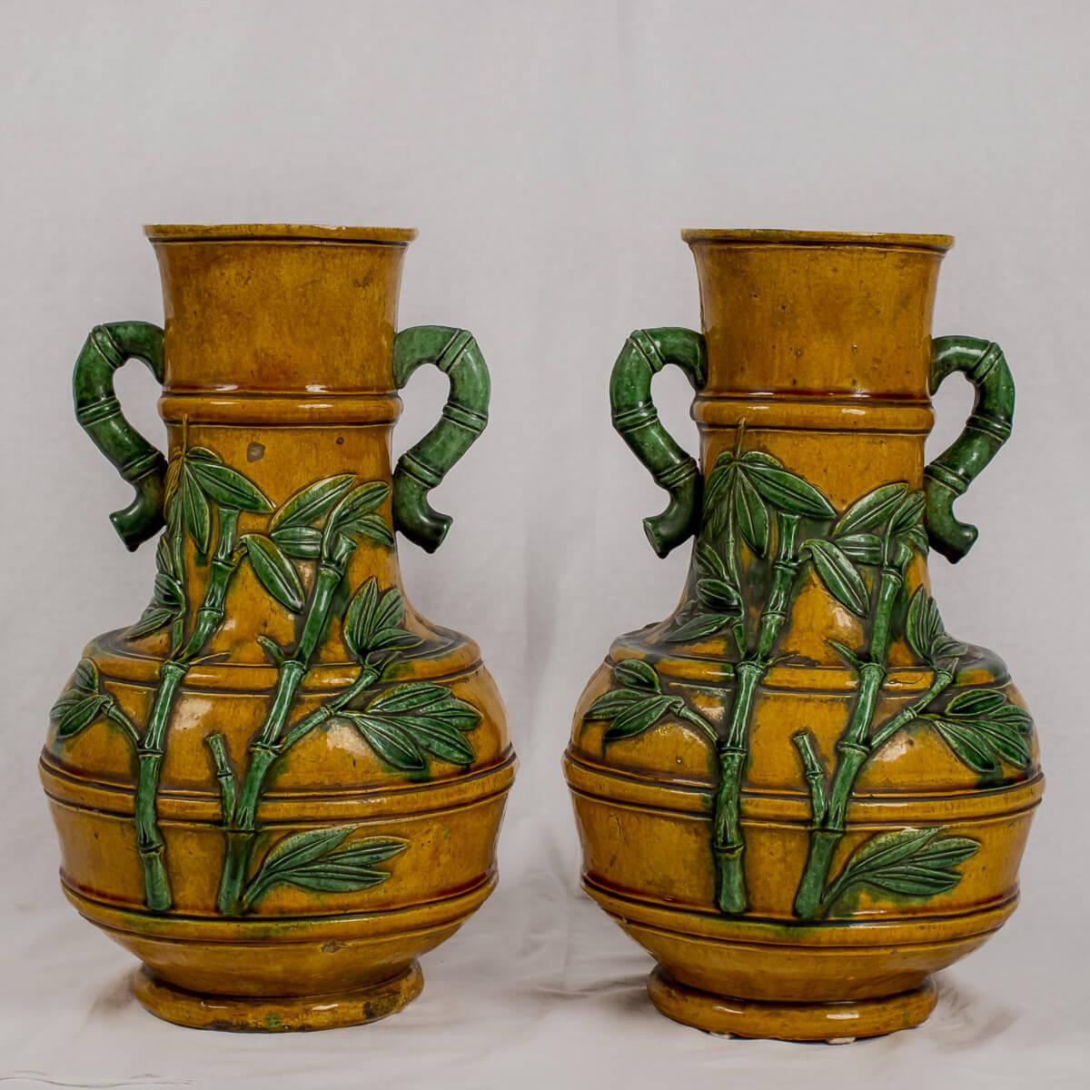 Coppia di vasi bicolore bambù
